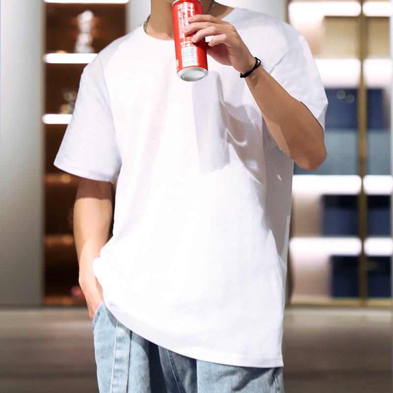 纯棉短袖t恤男2021新款修身潮速干青少年百搭圆领短袖夏季打底衫