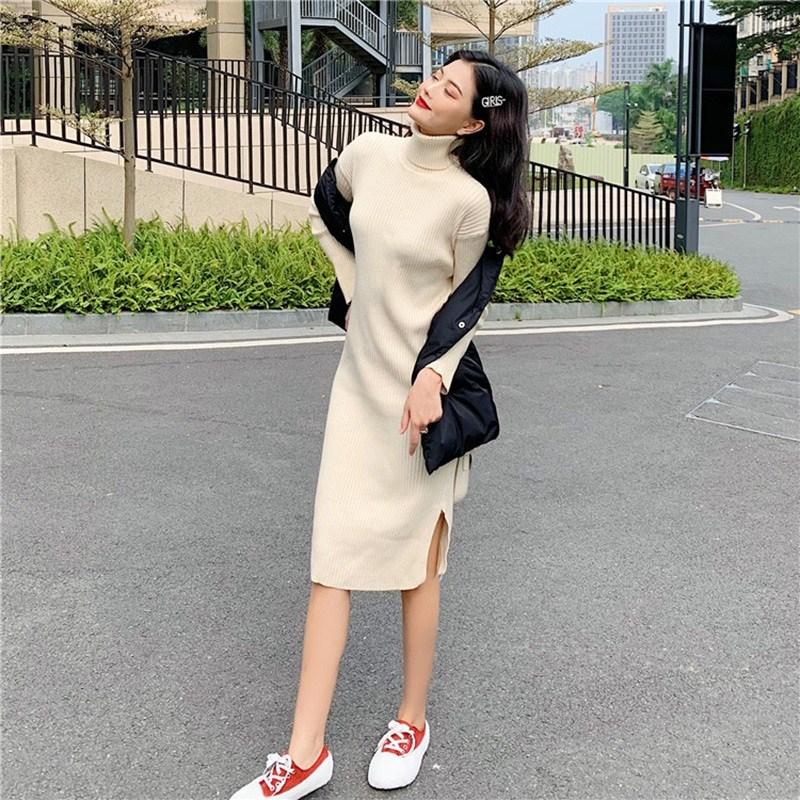 中长款开叉针织高领裙女毛衣很仙的韩版长袖修身打底冬装气质裙