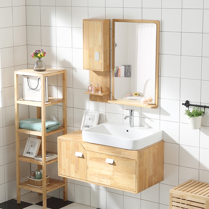 Japanese Style Solid Wood Bathroom Cabinet Bathroom Cabinet Oak Wall Cabinet  Wash Table Wash Basin Combination Bath Hand Pool Basin