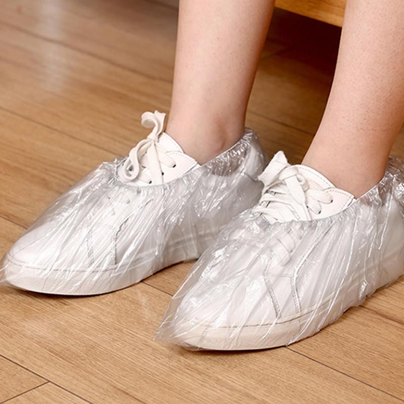 一次性鞋套加厚防尘防水耐磨室内家用透明塑料雨天脚套通用100只