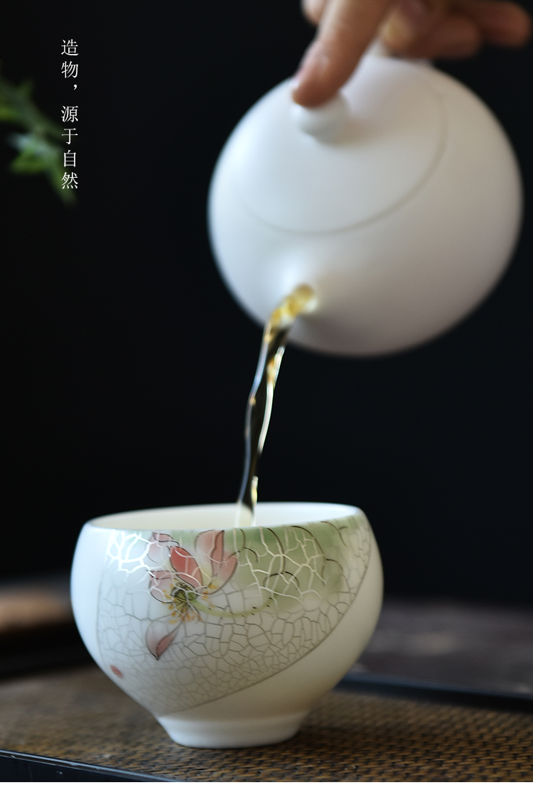 Ancient sheng up manual tasted silver gilding hand - made sample tea cup hat to the new lotus cup run of mine ore suet white jade ivory porcelain cup