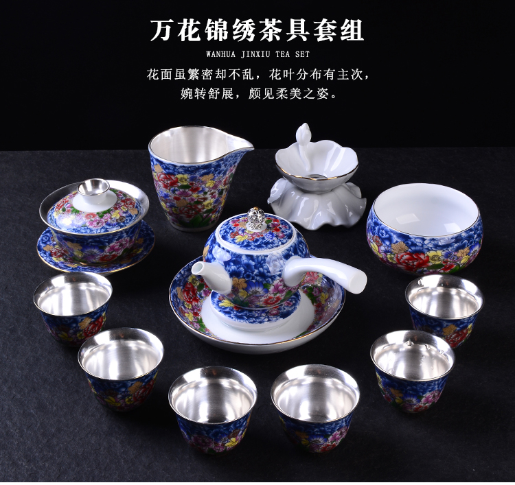 The New Japanese ancient sheng up six silver suit jingdezhen tasted silver gilding household porcelain enamel ginkgo three bowls