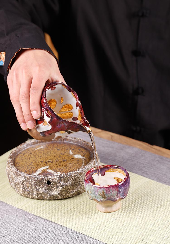 Hand made tzu wild ancient sheng up'm masters cup Japanese tracing 24 k gold open piece of wild sample tea cup ceramic kunfu tea light