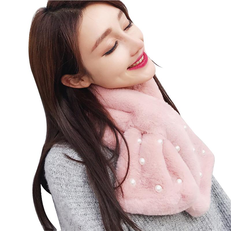 围巾女冬季韩版加厚保暖围脖套头仿兔毛秋冬学生儿童可爱毛绒脖套