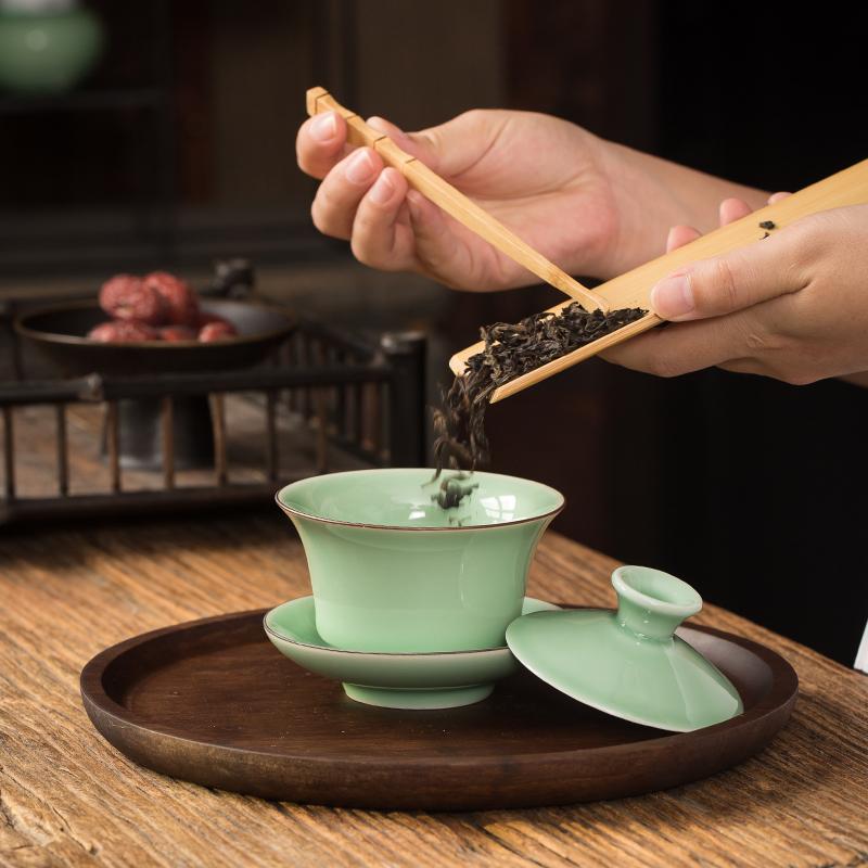 Ya xin company hall celadon tureen three ceramic kung fu tea tea bowl to bowl upset to make tea cup way