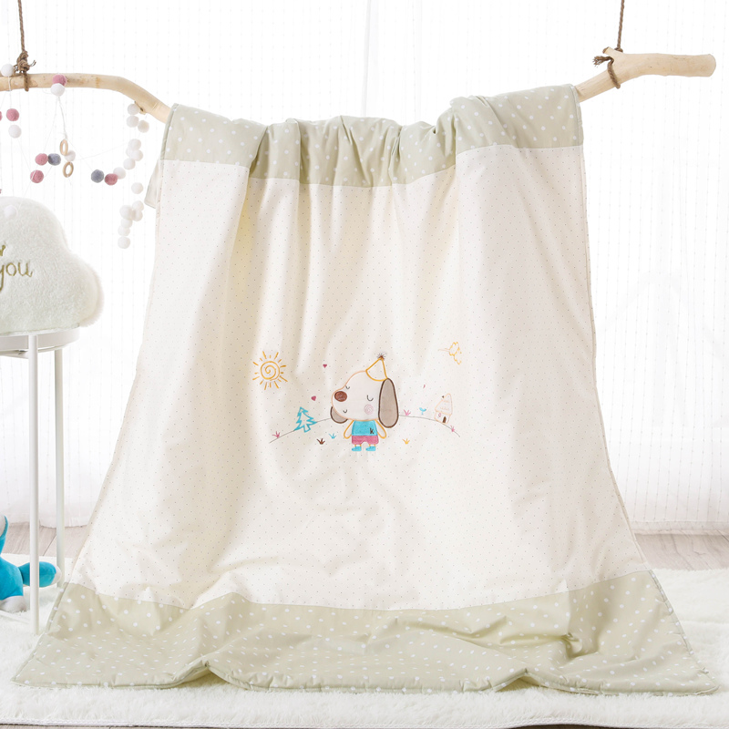 COTTON EMBROIDERED CHILDREN SUMMER QUILT - BIG EAR DOG