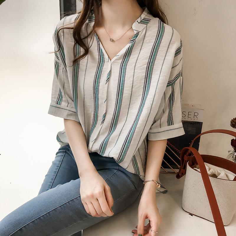 棉麻衬衫女夏韩版宽松大码亚麻棉条纹七分袖上衣欧货时尚百搭女装