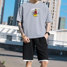 短袖t恤男两件套嘻哈韩版潮流学生套装