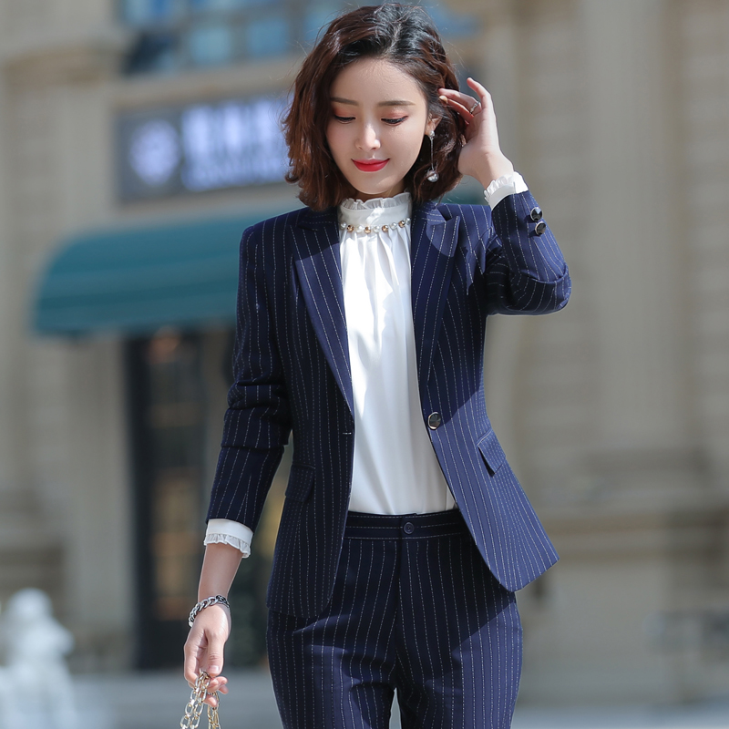 Professional women's suits autumn 2019 new long-sleeved business suits fashion temperament striped suit overalls female