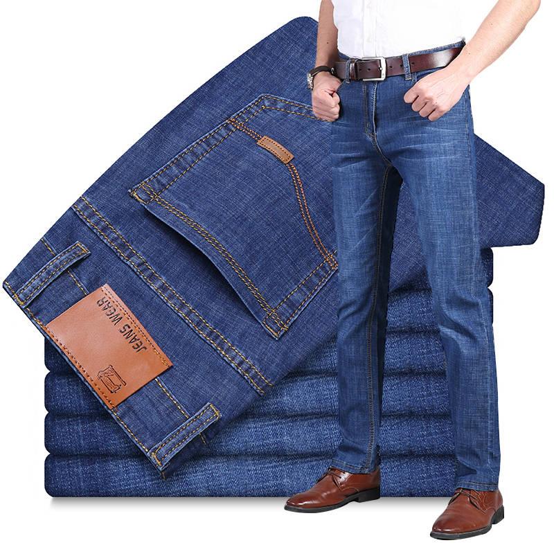 夏季牛仔裤男弹力宽松薄款潮牌男士修身直筒百搭超薄休闲长裤子男主图