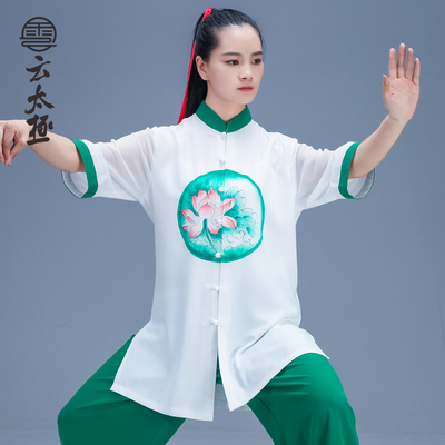 Tai Chi Clothing Taiji Short Sleeve Cool and Air-breathable Wushu Show Suit for Morning Exercise for Men and Women