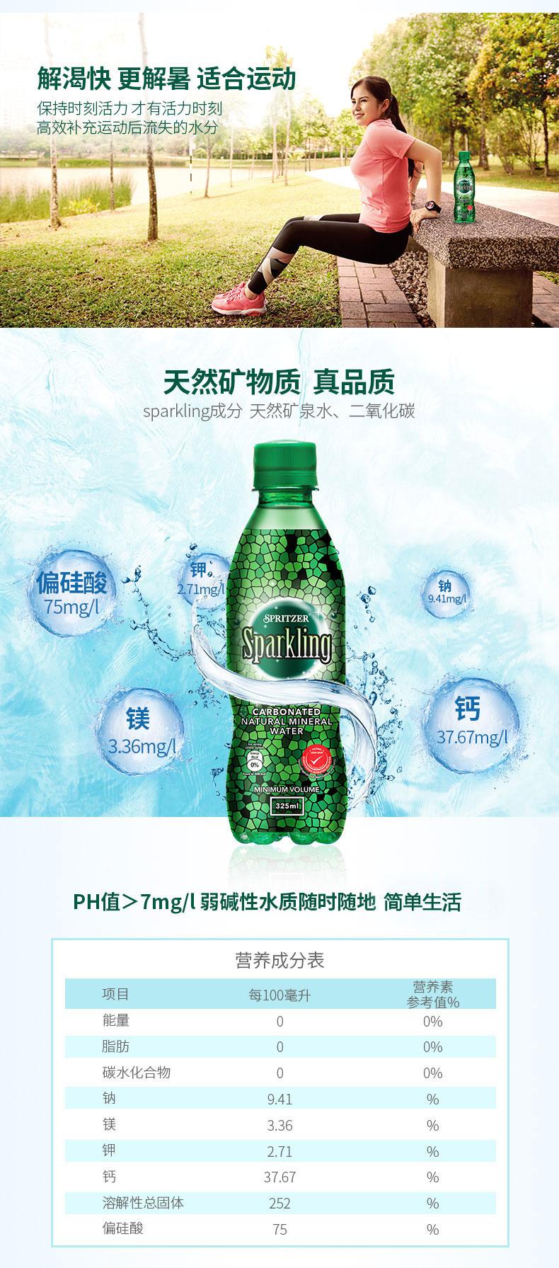 马来西亚国会用水 Spritzer 0糖0卡天然气泡水 325ml*24瓶 图5