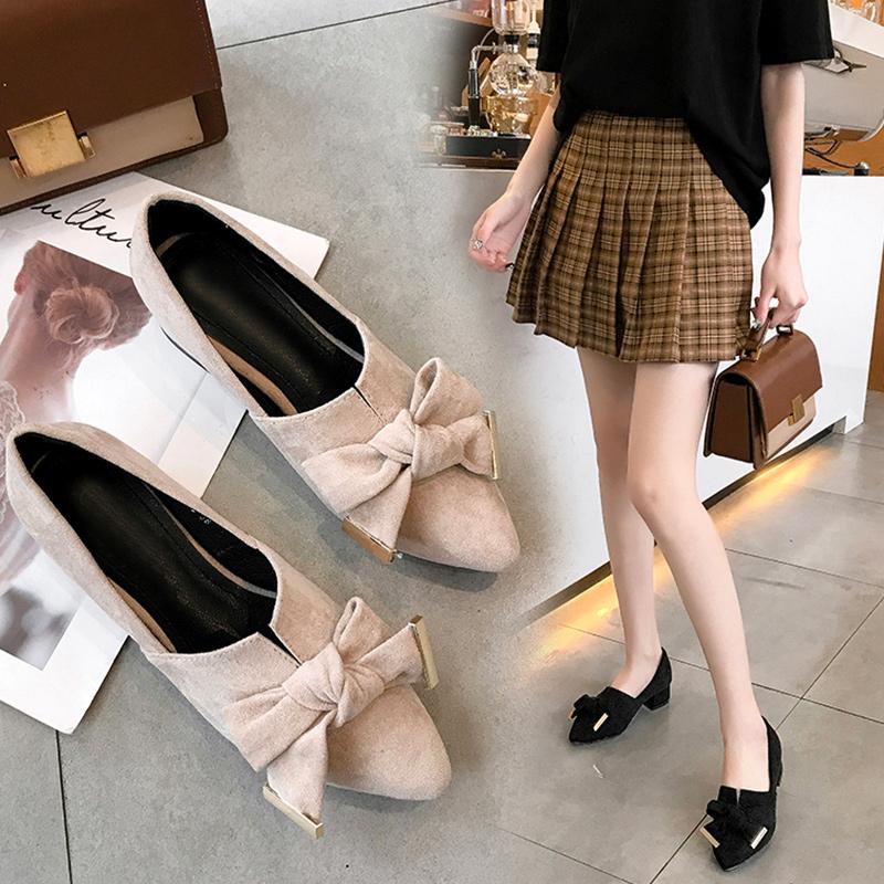 粗跟单鞋女2019春季新款蝴蝶结尖头中跟女鞋网红百搭舒适休闲鞋子