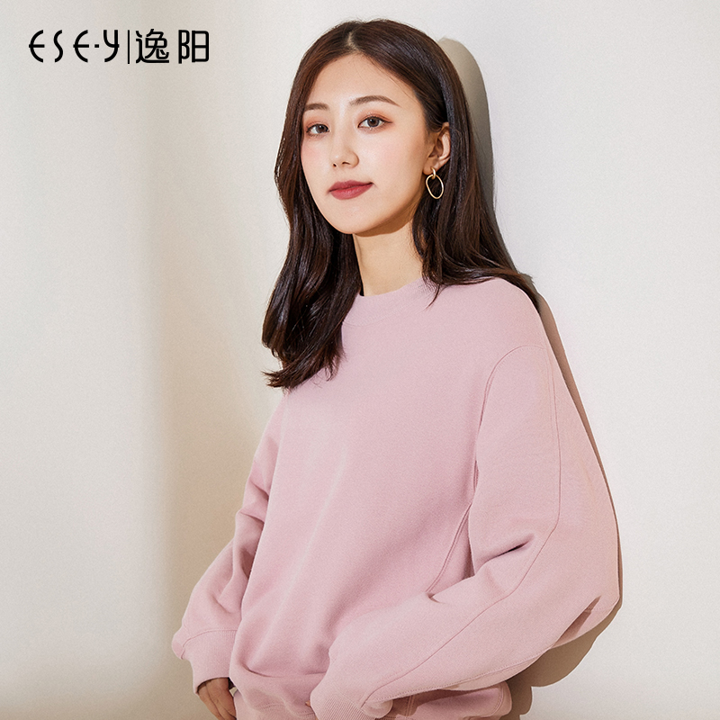 Yiyang new Korean version of the loose sweater female tide ins autumn and winter plus velvet long-sleeved jacket wild head coat 2186