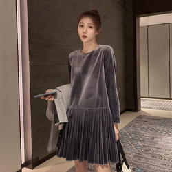 Dayuan spring and autumn gold velvet dress women's mid-length high waist loose long-sleeved bottoming was thin a-line pleated skirt