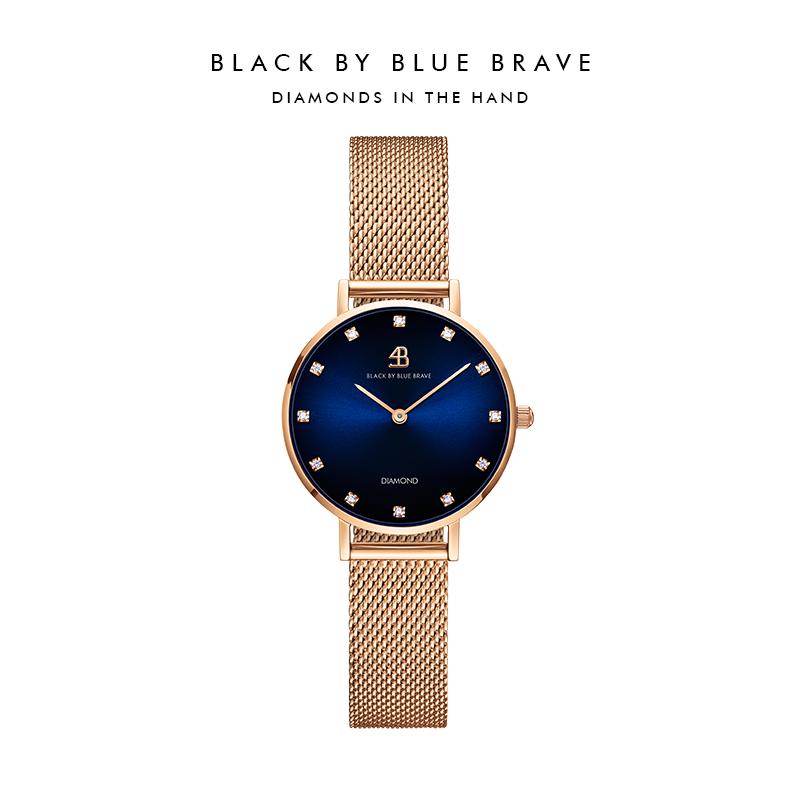BlackByBlueBrave 新加坡4B手表玫瑰金真钻轻奢女表28mm