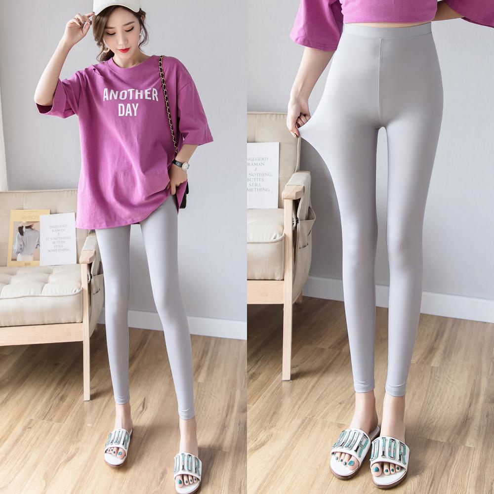 夏季九分裤子冰丝女士裤打底外穿韩版薄款弹力高腰显瘦光滑面超薄