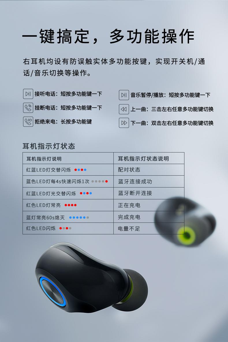 雷柏 i130 TWS真无线蓝牙耳机 蓝牙5.0连接 图12