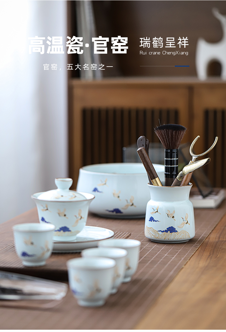 By Japanese contracted set of tea service suit small home office tea set ceramic tea tray was contracted tea cups