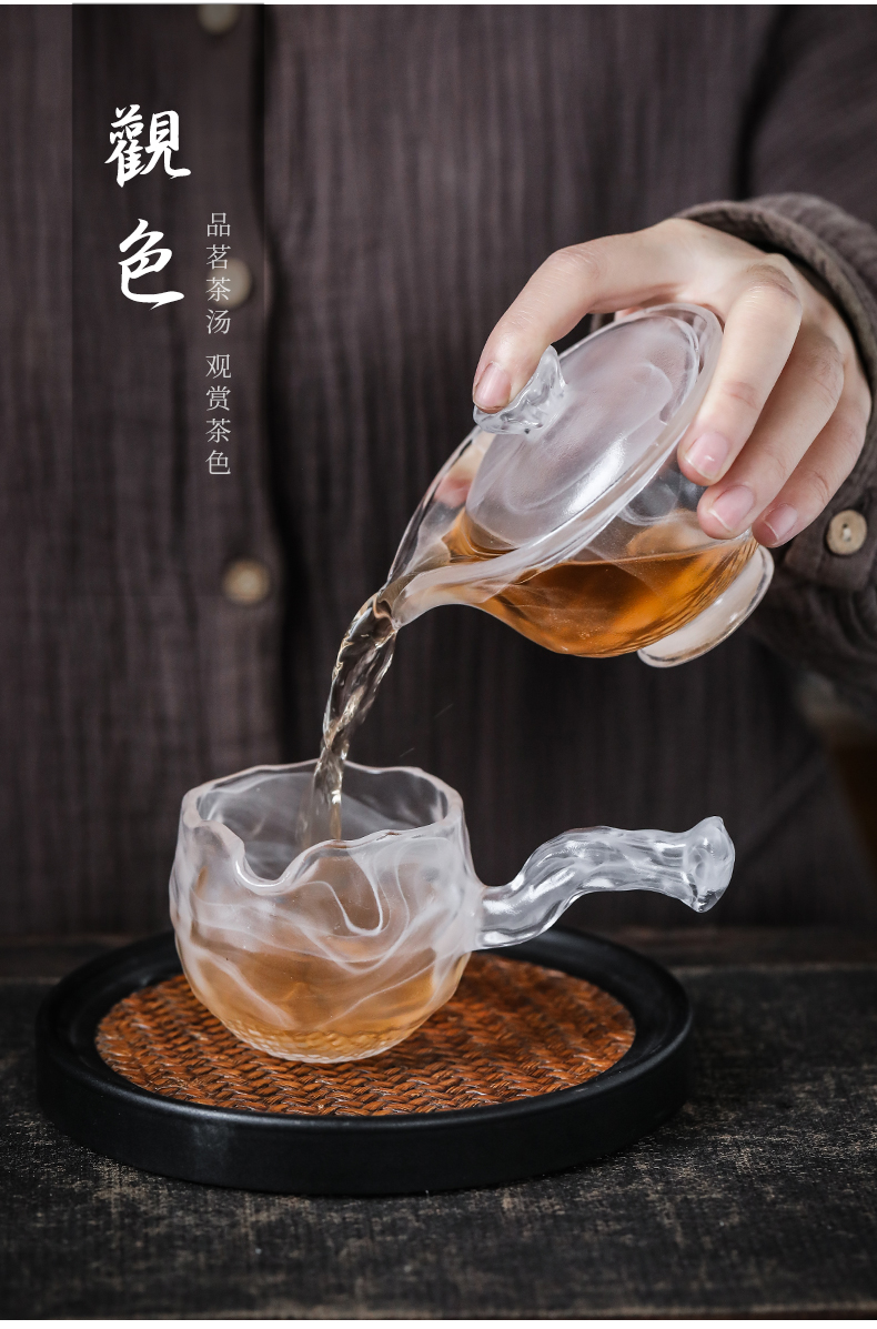 By the side of the fair manual coloured glaze glass cup upset points tea tea sea transparent kung fu tea accessories