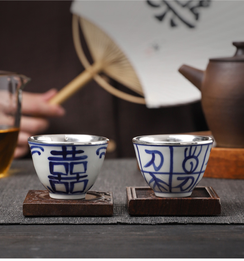 By patterns ceramic silvering 999 sterling silver cups kung fu noggin man master cup single CPU getting sample tea cup