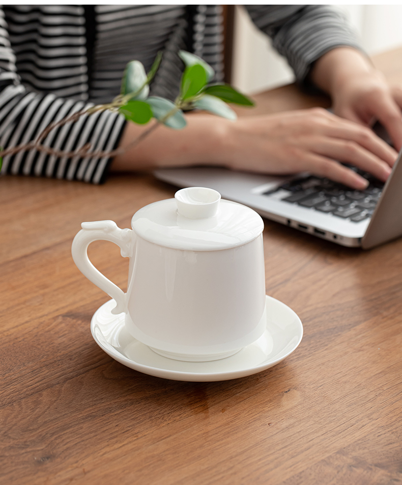Suet jade porcelain dehua white porcelain office and a cup of tea separation with cover glass customize LOGO mark