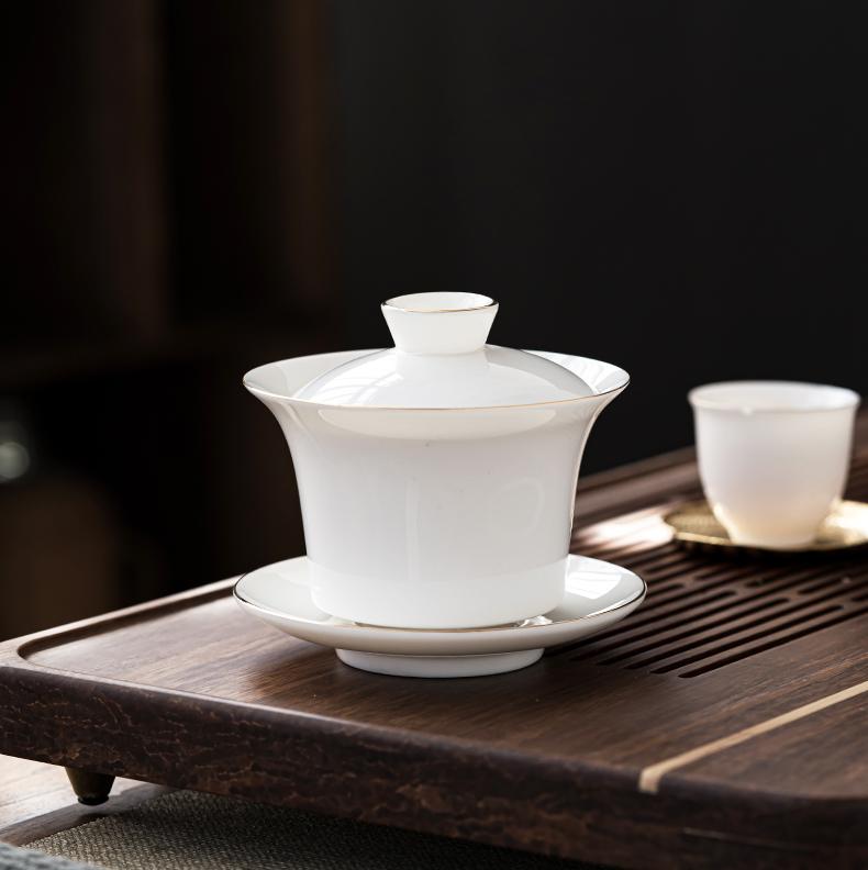 Dehua fuels the suet jade white porcelain tureen individual household thin foetus three cups with cover only make tea bowl of tea set
