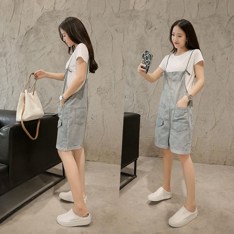 少女韩版短袖T恤牛仔吊带背带连体短裤夏装新款初中学生两件套装