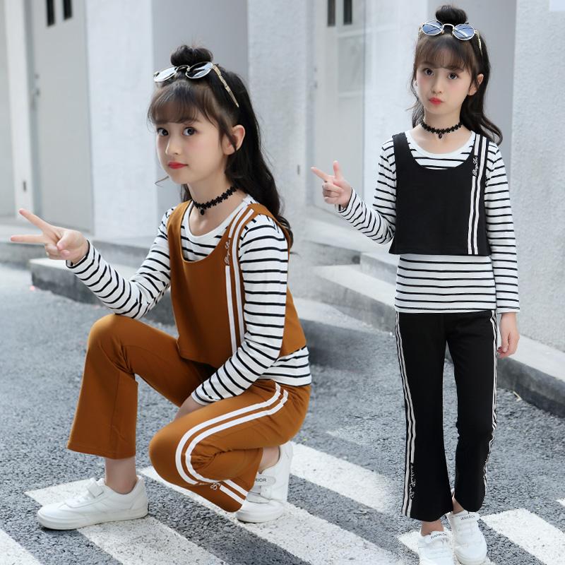 3-12岁秋季女童套装4中6大5儿童7长袖8条纹9运动三件套小女孩秋装
