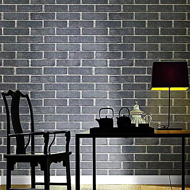 墙纸复古砖纹青砖砖块仿古壁纸中式3d背景立体文化石红砖墙砖头