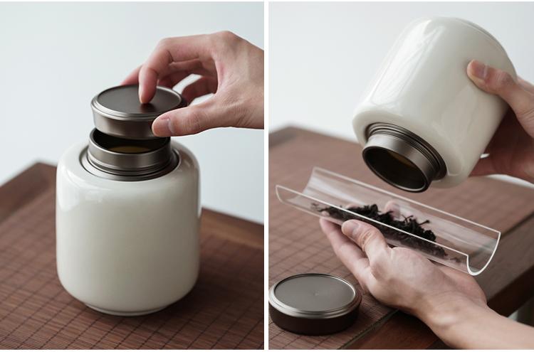 旋转锡盖茶仓复古茶叶罐陶瓷密封罐茶罐罐子大号绿茶红茶陶瓷罐