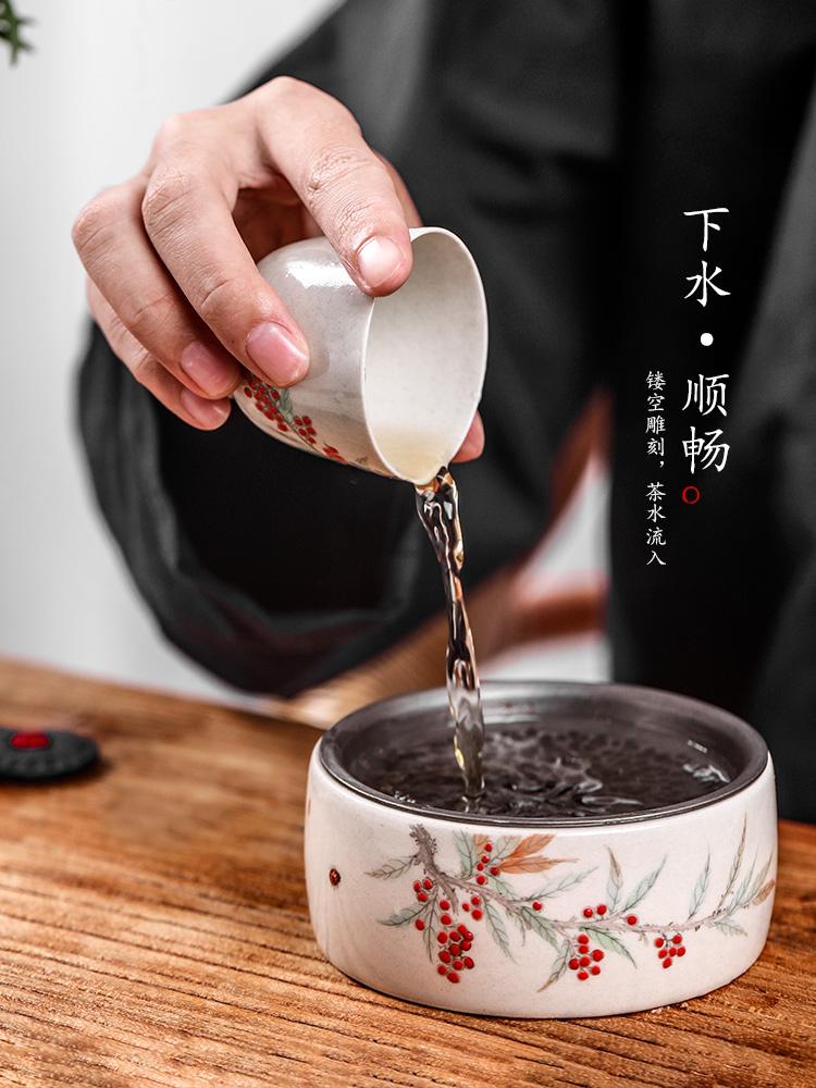 Hand - made pot of bearing dry Taiwan ceramic plant ash dry mercifully water tea wash to jingdezhen tea kung fu tea tray lid