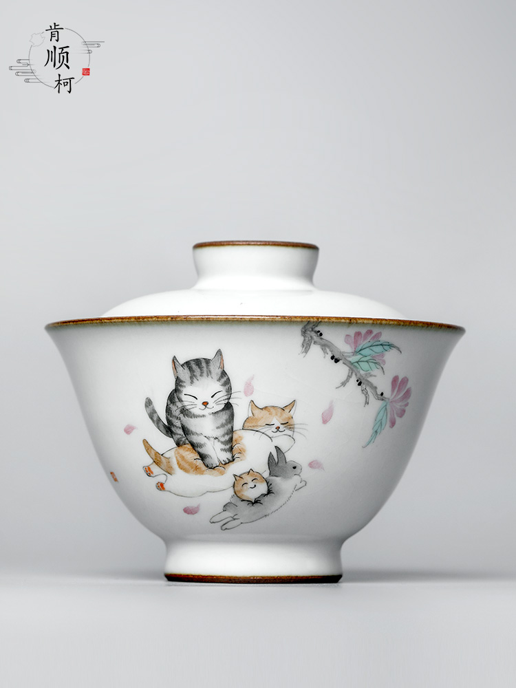 Kunfu tea tureen single hot jingdezhen tea set your up proof hand - made the cat thickening checking tea bowl of tea cups