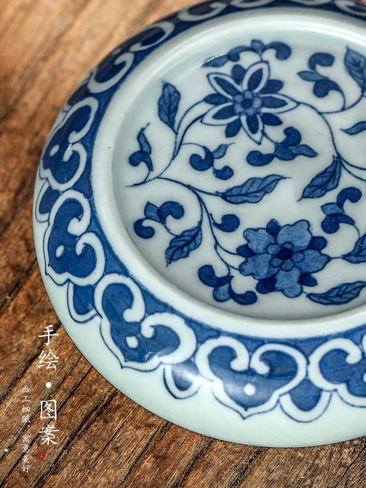 Jingdezhen ceramic cup mat cup pure manual blue tie up lotus flower cover set it cover bracket pot of tea accessories