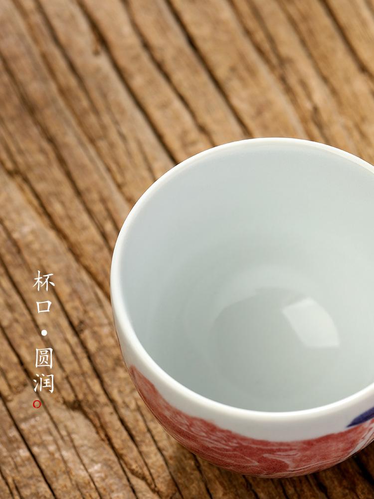 Pure manual kung fu master cup sample tea cup single CPU jingdezhen hand - made ceramic cups archaize tea tea set. A single