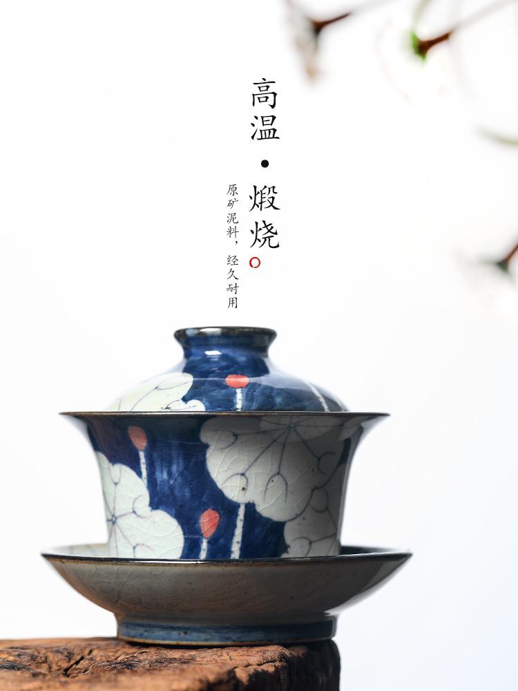 Jingdezhen blue and white tureen tea is a single cup tea large hot upset kunfu tea hand - made lotus tea
