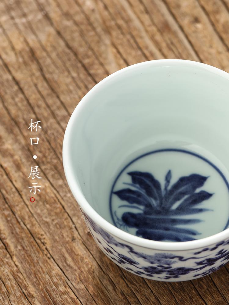 Jingdezhen porcelain tea set pure manual master cup single CPU female hand - made ceramic personal special cup single sample tea cup