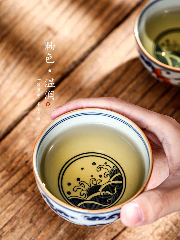 Blue and white master cup sample tea cup single cup tea pure manual jingdezhen ceramic cups single hand - made kung fu tea bowls
