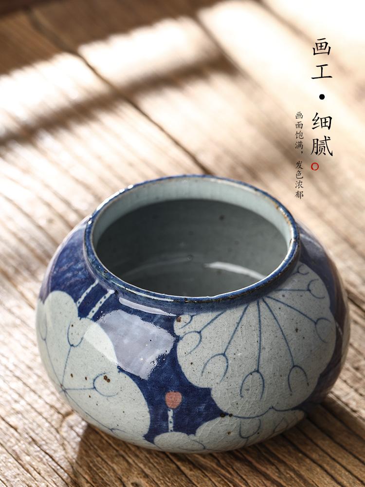 Pure manual jingdezhen blue and white wash hand made lotus tea wash water jar home writing brush washer ceramic accessories kung fu tea