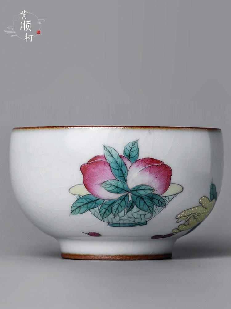 Jingdezhen pure manual master cup single CPU kung fu tea set sample tea cup only ceramic hand - made peach slice open cups
