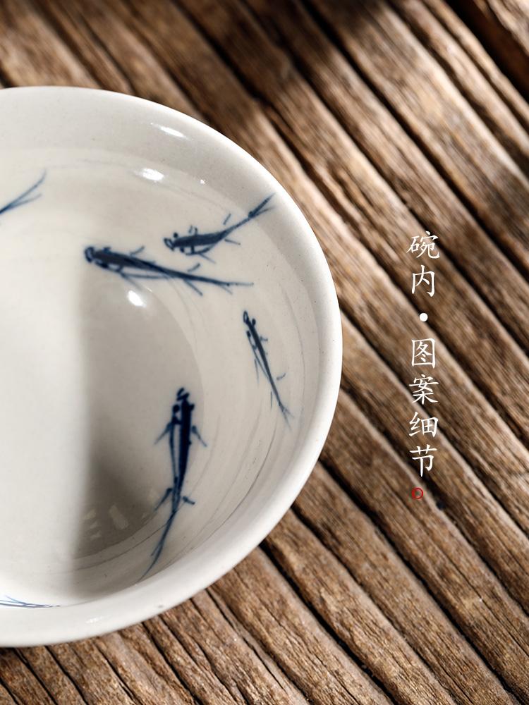 Jingdezhen blue and white hand - made tureen tea cups pure manual plant ash glaze tea bowl of hot kung fu tea set home female