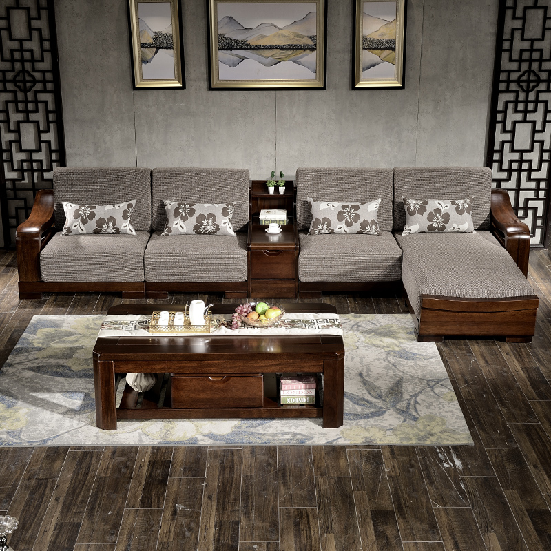 Solid Wood Sofa Combination Modern Chinese Corner Sofa Black Walnut  Furniture Cloth Wooden Living Room Chaise Sofa