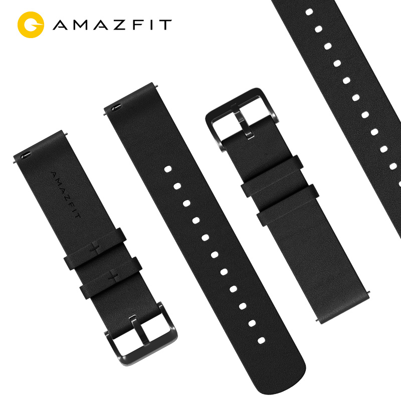 (20mm22mm strap width)Amazfit genuine leather strap black watch wristband Huami