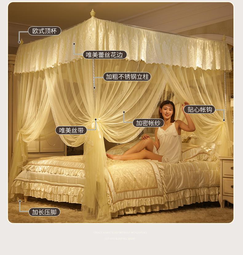 新款加密蚊帐1.8m床1.5m宫廷加厚落地加粗支架家用纹账1.2米宿舍详细照片