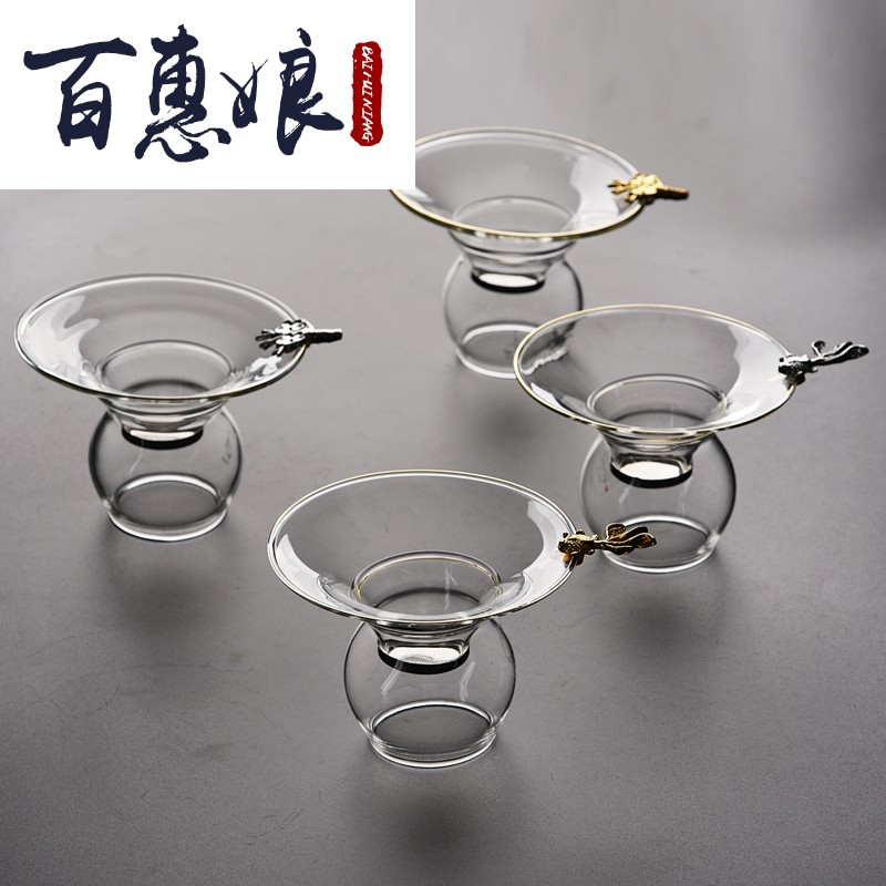 Baihui women resistant to high temperature glass tea leakage tea filter tea filter across the tea filter funnel transparent kung fu tea set.