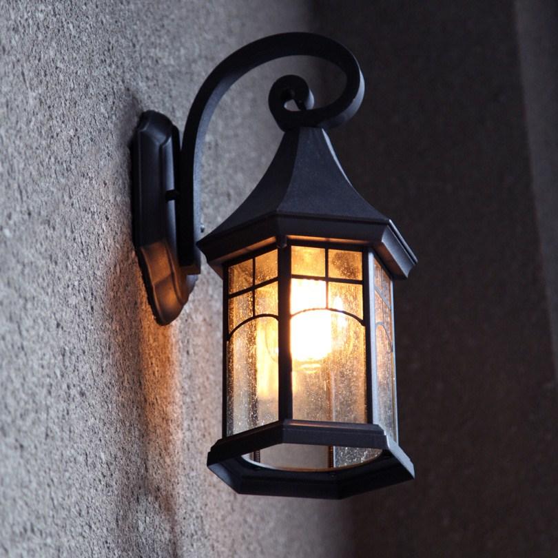 户外角琅铜墙小仿古黑色防水灯具复古壁灯室外阳台欧式