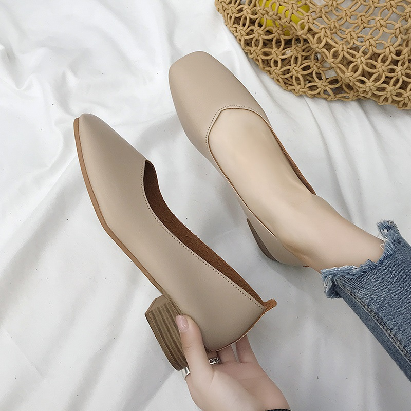 春秋新款浅口女鞋奶奶鞋粗跟鞋女平底韩版鞋
