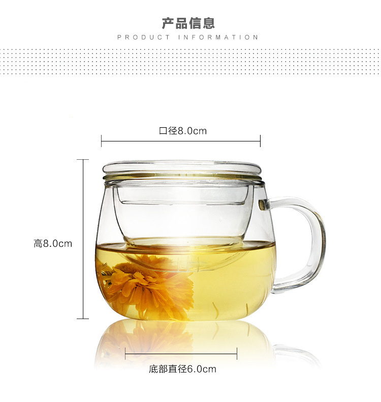 Household water glass with the glass cup with handle double heat male woman make tea office large cups