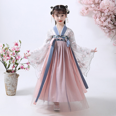 Childrens Chinese Hanfu, girls ancient dress, little girls elegant, super immortal, chest length, Ru skirt, Chinese style Tang style spring dress