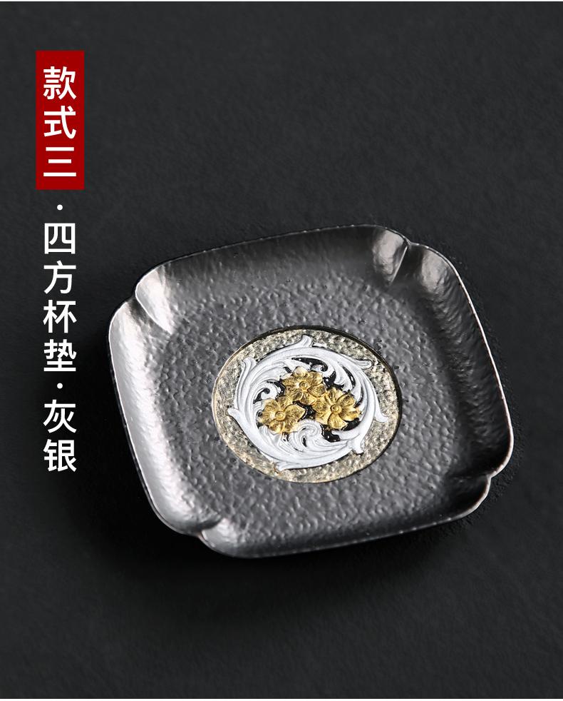 晟窑景泰蓝茶杯垫创意茶具配件隔热防滑垫復古珐琅彩茶垫合金杯託详细照片